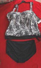 Coco Reef Blouson Black/White Print Tankini size 22W/44D cup Brief or Swimskirt