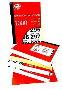1 X RAFFLES AND CLOCK ROOM/BINGO TICKETS  COLOURS 1000 TICKETS BOOK