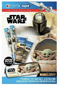 Star Wars Baby Yoda Crest Toothpaste Oral B Toothbrush Soft Travel Case Limited