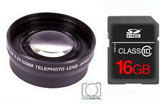 58MM 2x Telephoto Zoom Lens + 16GB CARD for Canon Rebel EOS T3 T4 T5 T5I 30D 20