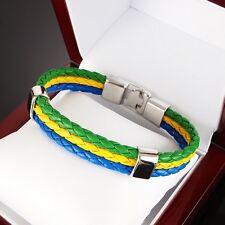 Brasil Colors REAL Leather 316L Stainless Steel Bracelet Men Women Friendship 1