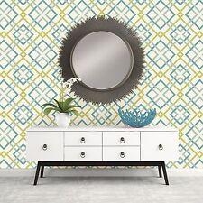 blaugrün und GRÜN Geometrisch Lattice Tapete Wanddekoration Saltire Design