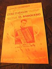 Partition Etoile d'Aragon Lino Necchi El Barquero Boccoz Lucien Millot