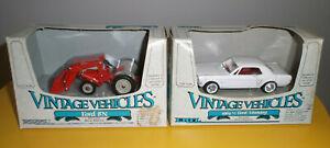 ERTL Vintage Vehicles Die Cast METAL Ford 8N Tractor & Ford 1964 1/2 Mustang NIB