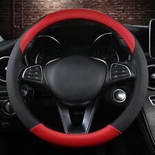 "15"" 38cm Car Microfiber Leather Steering Wheel Cover Non-slip Covers Black&Red"