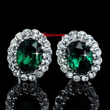 Vintage 18k White Gold Filled Crystal Emerald Green Stud Earring XE68