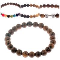 Holz Armband für Sie und Ihn Perlenarmband Chakra Buddha Lavastein Herren Damen