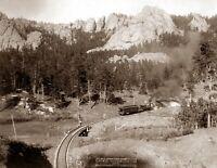 """1891 Train on Horse Shoe Curve, SD Vintage Photograph 8.5"""" x 11"""" Reprint"""
