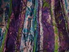 Funky Vintage PURPLE, PINK, GREEN ,BLUE STRIPE Fabric Remnant (50cm x 50cm)