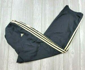 Vintage Adidas Windbreaker Track Pants Zip Ankle Black Yellow Stripes Sz XL Men