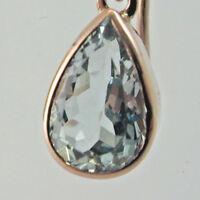 Aquamarine tear drop earrings 9 carat rose gold french hook