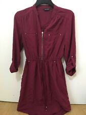 Lovely New Look Burgundy Shirt Dress Size 8