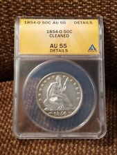 1854-O Seated Liberty Half Dollar ANACS AU 55 Details Cuds Die Breaks WB Bigfoot