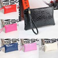 US Woman PU Wallet Clutch Leather Long Card Holder Zip Purse Handbag Crocodile