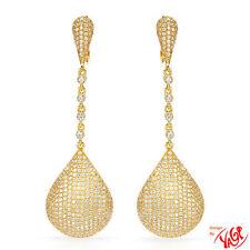 YAGI Bridal Wedding Earrings Jeweled Drop 14K/925 Sterling Lever Back NIB $2350