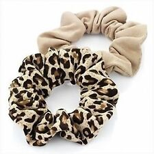 SET 1 BEIGE & 1 ANIMAL LEOPARD PRINT JERSEY HAIR SCRUNCHIE PONYTAIL BAND ELASTIC
