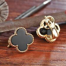 15MM Black Agate Onyx Four Leaf Clover Lever Back Stud Earrings Solid G14K Gold