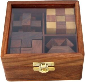 Ajuny 4 in One Wooden Puzzle Games Set 3D Puzzles For Teens And Adults Gifts