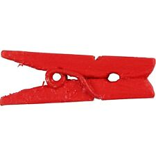 Mini Red Clothes Pegs x 20 - Painted Wood - Craft Home Decoration Display - 25mm