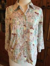 Sportscraft 3/4 Sleeve Floral Button Down Shirts for Women