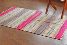 Taluche Handmade 6ft x 4ft Multi-color Chenille Striped Pattern Area Rug/Tapis