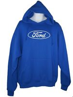 David Carey Ford Oval Logo Pullover Fleece Sweatshirt Hoodie Hoody Royal Blue