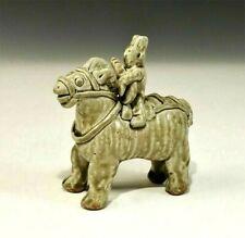CHINA Yue Funerary  Yang  CHINESE 秦 櫟陽 Celadon  CERAMIC MOUNTED MUSICIAN 15cm