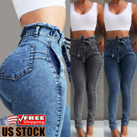 Women Skinny Stretch Pencil Pants High Waist Strappy Denim Jeans Casual Trousers