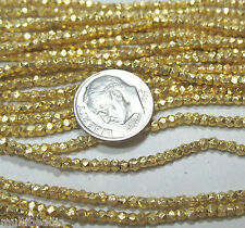 """Bright GP Gold Plated 1.5x2mm Faceted Textured Tube Nugget Beads 7"""" Great Spacer"""