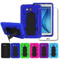 Shockproof Combo Stand Box Case+Glass Screen Protector For Samsung Tab E Lite 7""