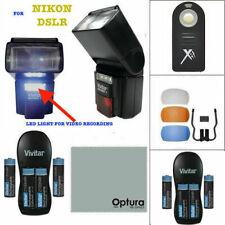 SPEEDLIGHT FLASH + COLOR DIFFUSER + BATTERIES FOR NIKON D3100 D3200 D3300 D5000