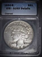1934-S Peace Silver Dollar, ICG AU53 , Hard To Find Grade, Key Date