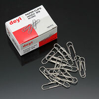 3 Box Quality Plain Paper Clips 28mm Paper Clips School office Use Silver Clip