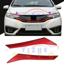 2pcs ABS Front Headlight Eyebrow Red Trim Strips For Honda Fit/Jazz 2014~2017