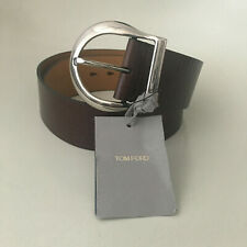 TOM FORD Calf Leather Belt With Silver Horseshoe Buckle 80 / 32 Brown $990 NEW