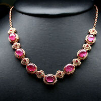 """NATURAL 8 X 9 mm. CABOCHON RED RUBY & WHITE CZ NECKLACE 18"""" 925 STERLING SILVER"""