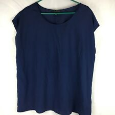 Womens Forever 21+ Plus Size 1X Blue Short Sleeve Tunic Top Blouse