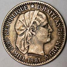 1881 Haiti 20 Cent Very Fine Circulated Silver Liberty Head Coin