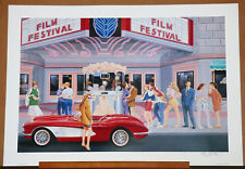"Keith Malleth ""Film Festival"" Limited Edition Signed Lithograph 1991 Art"