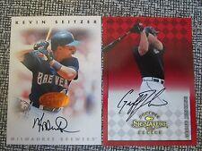 1998 Donruss Signature Leaf Auto Autographs lot of 2 Brewers Seitzer Jenkins