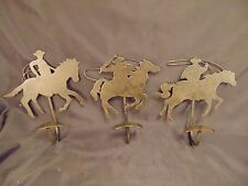 Cowboy clothing hooks 3 black metal Western themed coats hats rope fun rodeo art