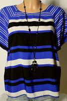 ZARA Bluse Gr. L blau-weiß-schwarz gestreift Kurzarm Bluse