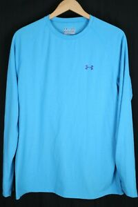Men's Under Armour UA Tech Heat Gear Long Sleeve Shirt Blue sz Largeeee