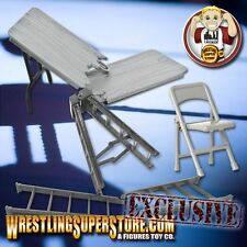 """10"""" Grey Ladder, Silver Table and Folding Chair for WWE Wrestling Figures"""
