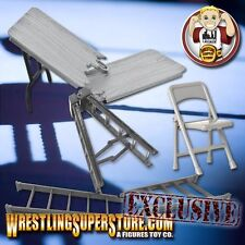 "10"" Grey Ladder, Silver Table and Folding Chair for WWE Wrestling Figures"