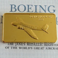 BOEING Model 247 plaqué or Preuve Lingot-Jane 's MEDALLIC registre