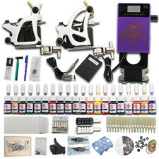 Starter Beginner Tattoo Kit 2 Machines Gun 20 Inks Needles Power Supply Set JJ27