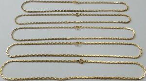 """5 Vintage Gorgeous Gold Plated Rectangle Box Chain Necklaces Choker 15.25"""" Lot"""