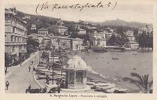 8810) S. MARGHERITA LIGURE PANORAMA E SPIAGGIA CHIOSCO CARROZZE VIAGG. NEL 1926