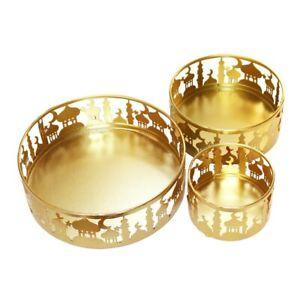 Set of 3 gold Metal Eid Mubarak Ramadan  Cake / Treat Tins trays